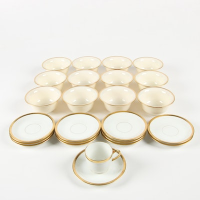 Lenox Bone China Bouillon Soup Liners with Vignaud Demitasse Cup and Saucers
