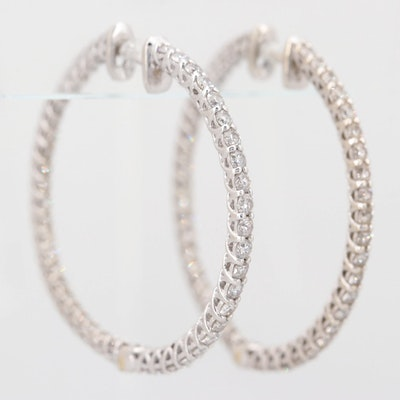 14K White Gold 2.97 CTW Diamond Inside Out Hoop Earrings