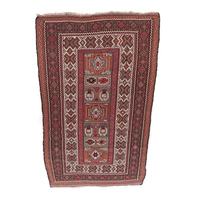 Handwoven Inscribed Caucasian Soumak Wool Rug