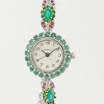 Sterling Silver Emerald and Gemstone Quartz Wristwatch