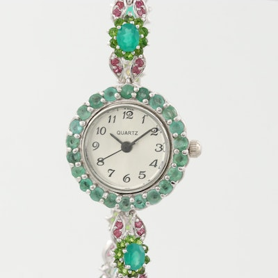 Sterling Silver Emerald and Gemstone Quartz Wristwatch