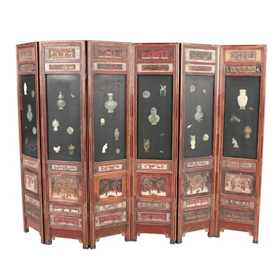 Chinese Six Panel Folding Screen with Jadeite and Stone Inlay
