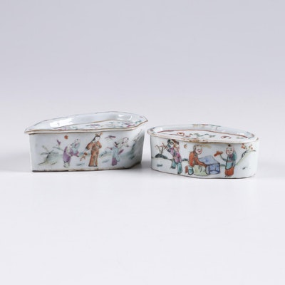Chinese Famille Rose Hand Painted Porcelain Cricket Boxes, Qing Dynasty