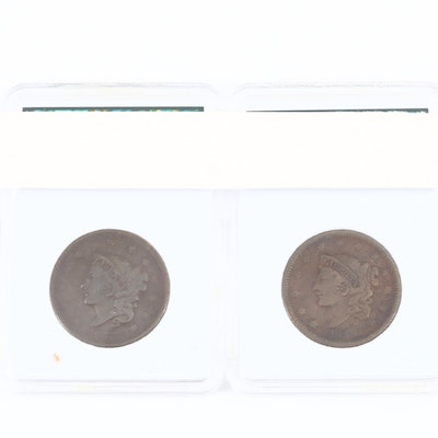 1837 and 1838 Matron Head Large Cents