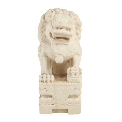 Carved Chinese Marble Guardian Lion Statue