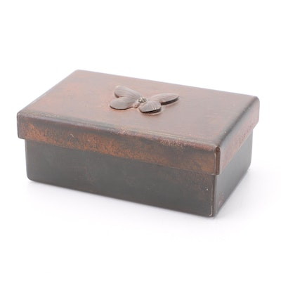 Jan Barboglio Metal Trinket Box with Butterfly Accent