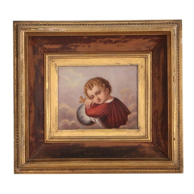 KPM Mid 19th Century Painted Porcelain Plaque of Cherub with Globus Cruciger