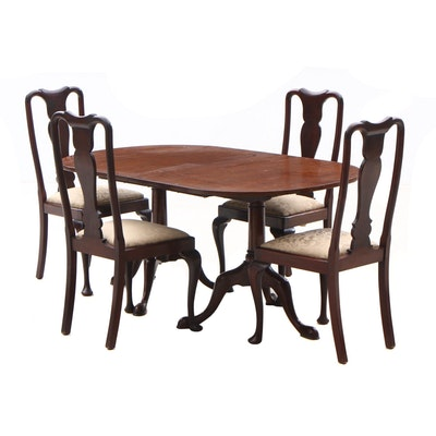 English Mahogany Dining Table and Four Queen Anne Style Chairs, Circa 1940s