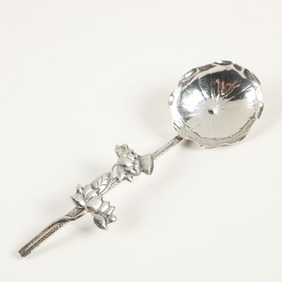 Luen Hing Chinese Export Sterling Silver Lotus Flower Spoon, Circa 1910