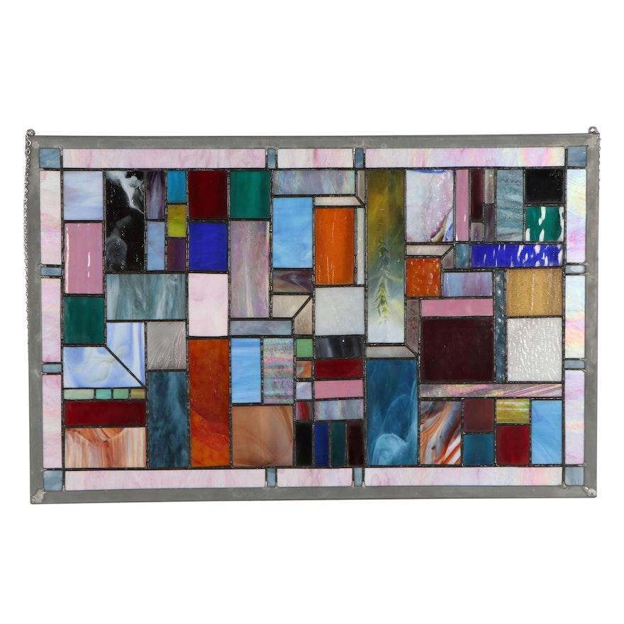Handcrafted Leaded Slag Glass Window Pane, 1990s