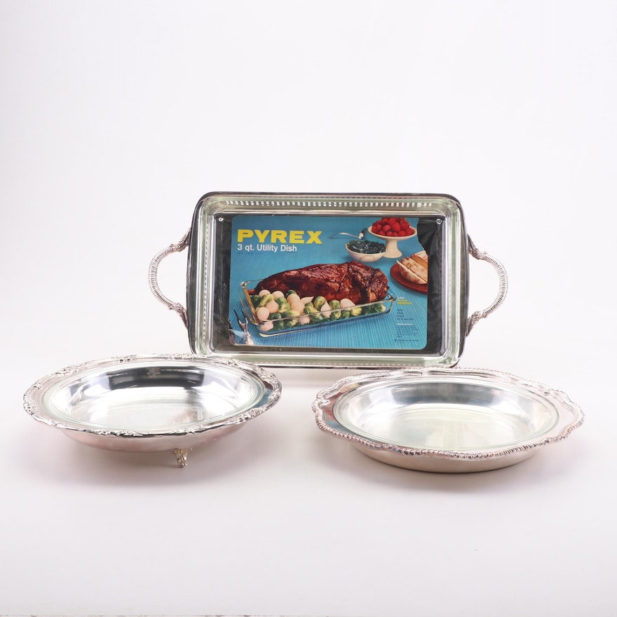Silver Plate Footed Serving Trays with Pyrex Glass Baking Dish Liners