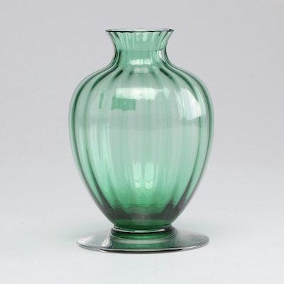 Baccarat Mid Century Emerald Green Crystal Ribbed Baluster Vase