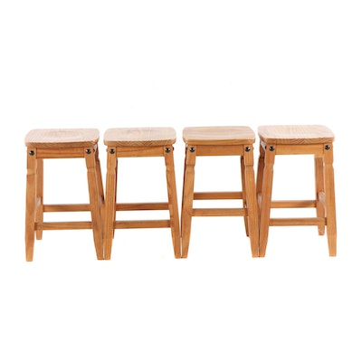 Four Contemporary Pier 1 Pine Bar Stools
