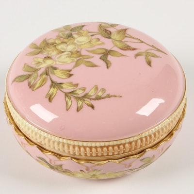 Royal Worcester Hand-Painted Floral Trinket Box