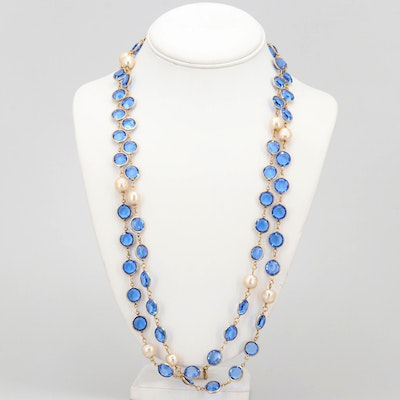 Vintage Chanel Blue Chicklet and Imitation Baroque Pearl Necklace