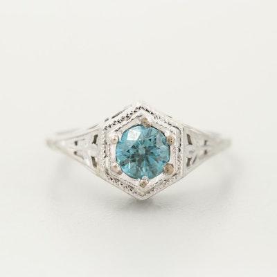 18K White Gold Blue Diamond Ring