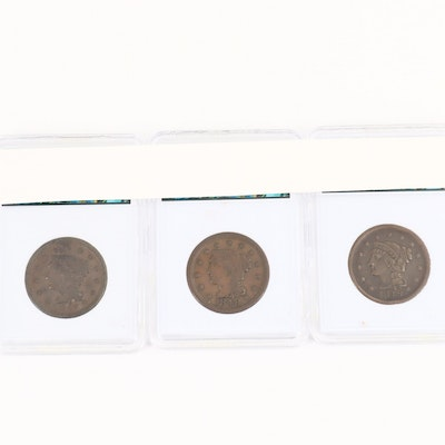 Three Braided Hair Large Cents Including 1847, 1848, and 1849