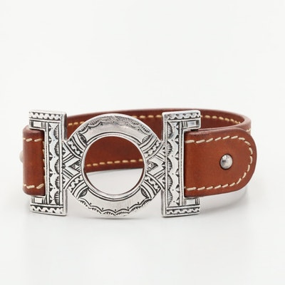 "Hermès ""Ano Tuareg"" Sterling Silver and Leather Bracelet"