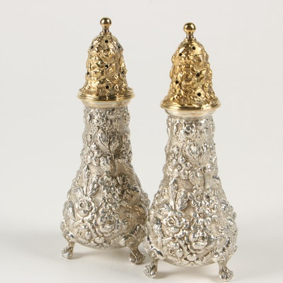 "Stieff ""Stieff Rose"" Sterling Silver Salt and Pepper Shakers, 1940"