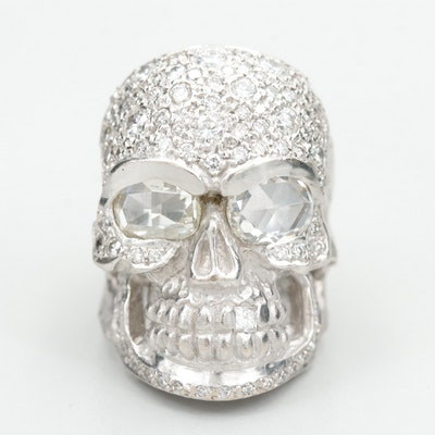 Loree Rodkin 18K White Gold 2.96 CTW Diamond Skull Ring