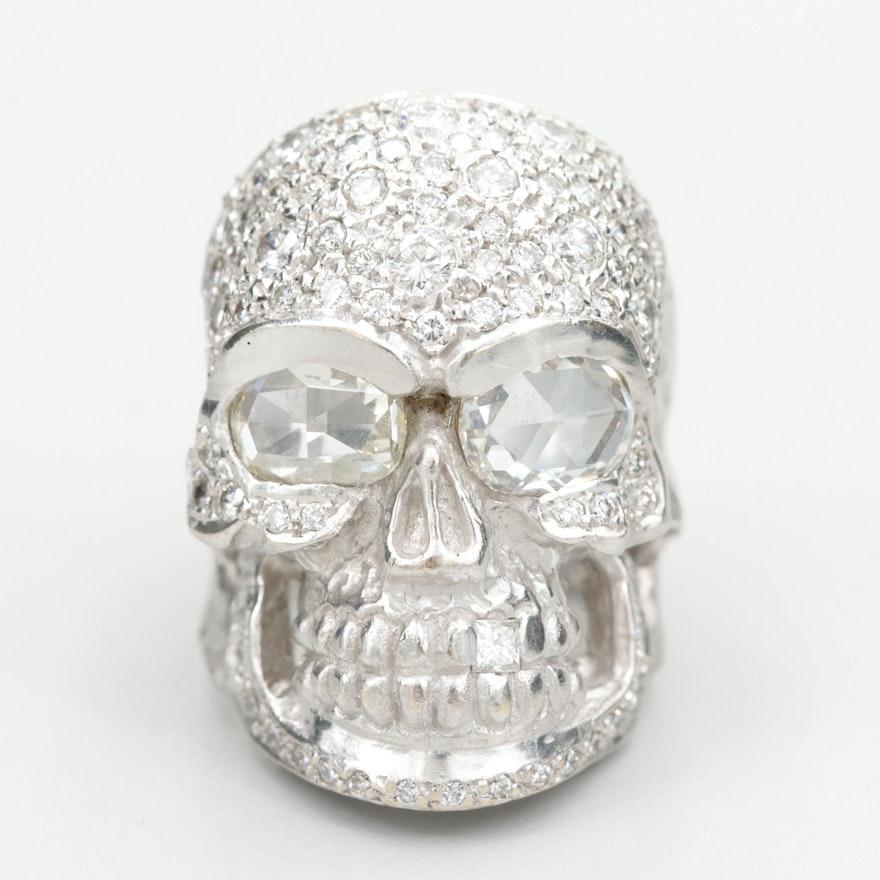 Loree Rodkin 18K White Gold 2.96 CTW Diamond Skull Ring