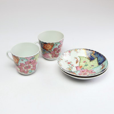 "Mottahedeh ""Tobacco Leaf"" Tea Cups and Saucers"