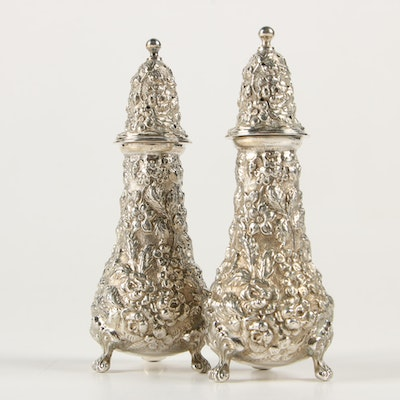 "Stieff ""Stieff Rose"" Sterling Silver Salt and Pepper Shakers, 1941"