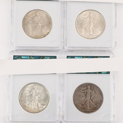 Four Walking Liberty Silver Half Dollars Including 1928-S and 1939-S