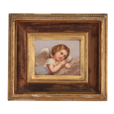 KPM Mid 19th Century Painted Porcelain Plaque of Cherub