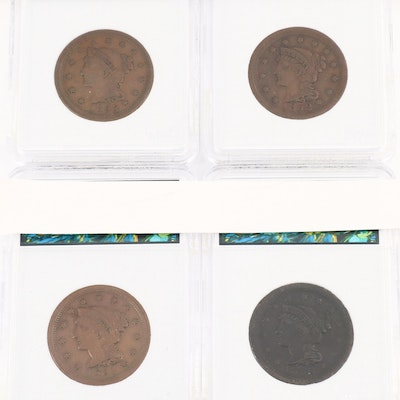 Four Braided Hair Large Cents Ranging from 1850-1853