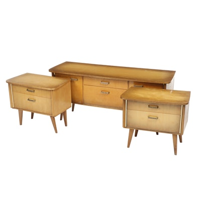 Pre-War German Modernism Low Console Credenza with Matching Side Tables