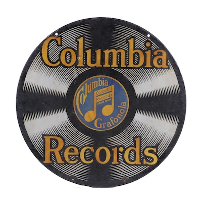 Columbia Records Double-Sided Porcelain Advertising Sign, Early 20th Century