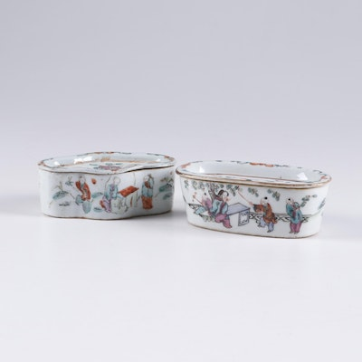 Chinese Famille Rose Porcelain Cricket Boxes, Qing Dynasty