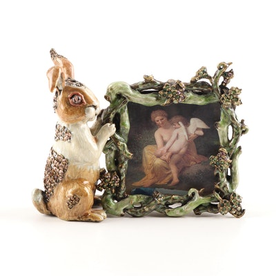 Jay Strongwater Enamel and Rhinestone Rabbit Picture Frame