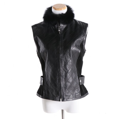 St. John Collection Black Quilted Leather and Suede Vest With Fox Fur Trim