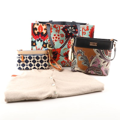 Spartina 449 Linen Tote Bag, Wristlet, Crossbody Bag and Cashmere Wool Poncho