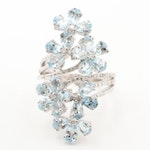 Sterling Silver Aquamarine and Diamond Floral Bypass Ring