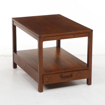 Founders Pecan Wood End Table, Mid-20th Century