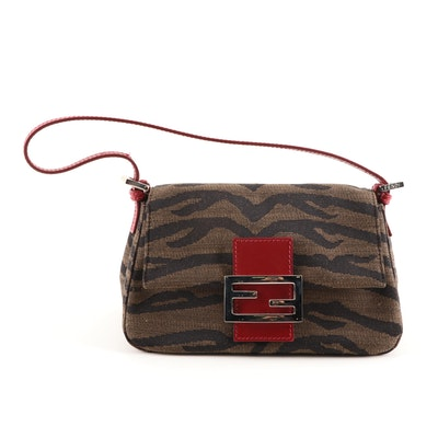 Fendi Zebra Stripe Jacquard and Red Leather Handbag