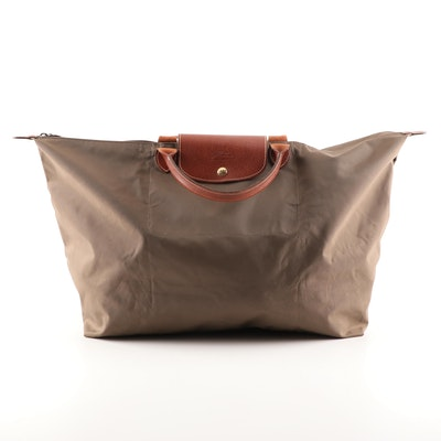 Longchamp Paris Le Pliage Large Travel Bag in Nylon and Leather