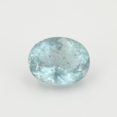 Loose 27.37 CT Oval Faceted Aquamarine Gemstone with GIA Report