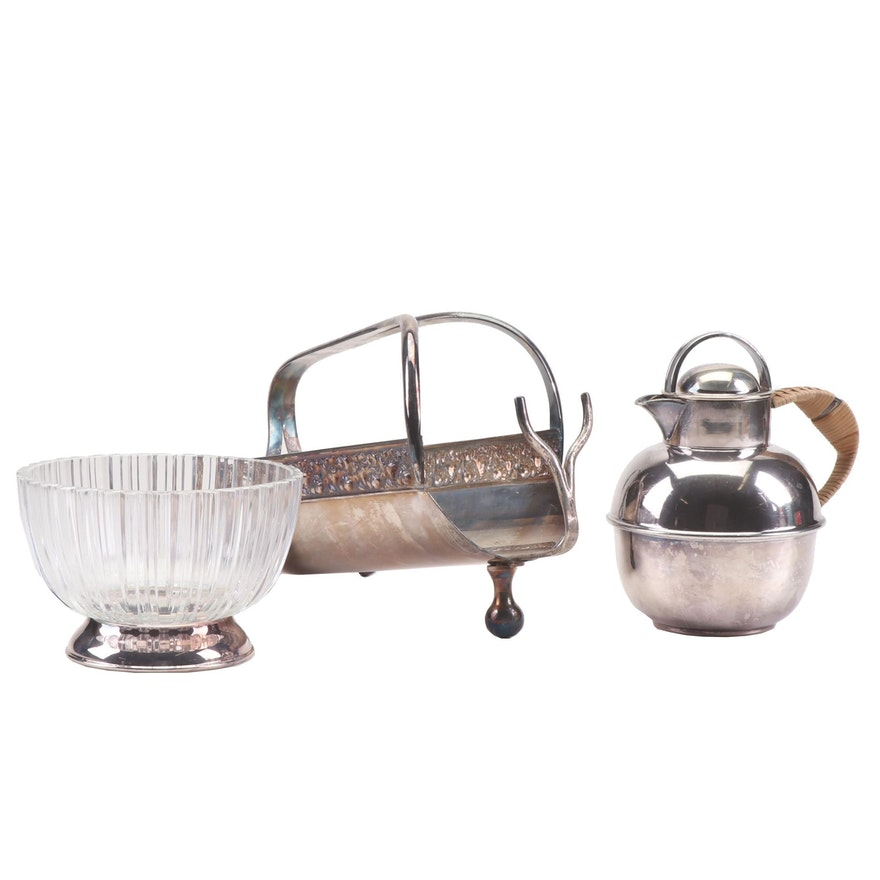 Godinger Crystal and Silver Plate Bowl, and Silver Plate Wine Caddy and Creamer