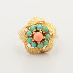 Vintage 14K Yellow Gold Coral and Turquoise Ring
