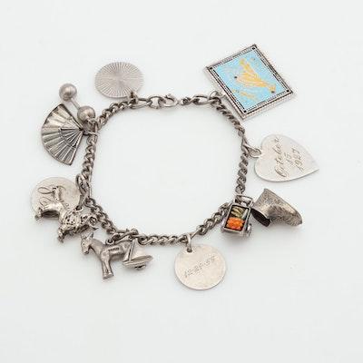 Vintage Sterling Silver Charm Bracelet with Martha's Vineyard Enameled Map Charm