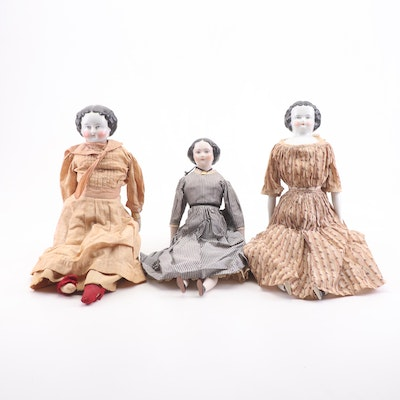 German Porcelain and Leather Jointed Dolls, Late 19th/Early 20th Century