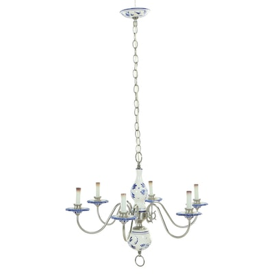 Delft Style Earthenware and Brushed Steel Six Light Chandelier
