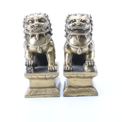Pair of Brass Guardian Lions