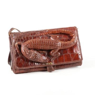 Stuffed Caiman Hide Handbag, Mid-20th Century