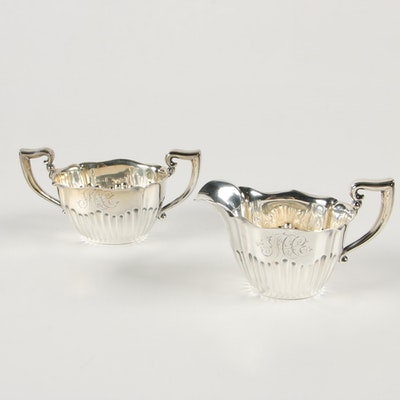 Woodside Sterling Silver Creamer and Open Sugar Bowl, 1896–1925