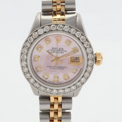 Rolex Oyster Perpetual Date Stainless Steel Automatic Diamond Wristwatch, 1 CTW